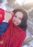 Портрет красивой усмехаясь девушки в зиме Стоковое фото RF
