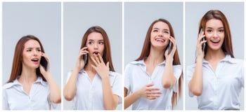 Портрет красивой усмехаясь девушки с мобильным телефоном Стоковые Изображения