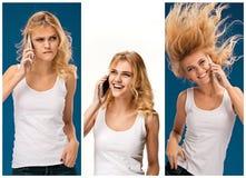 Портрет красивой усмехаясь девушки с мобильным телефоном Стоковое Фото