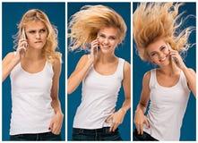 Портрет красивой усмехаясь девушки с мобильным телефоном Стоковые Изображения RF