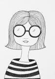 Портрет красивой французской девушки бесплатная иллюстрация