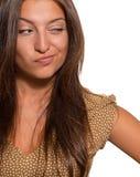 Портрет красивой хитро женщины стоковое фото