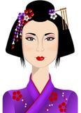 Портрет красивой японской женщины иллюстрация штока