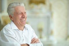 Портрет красивый усмехаясь представлять старшего человека стоковое фото