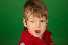 Портрет красивыми мальчика удивленного детенышами Стоковые Изображения