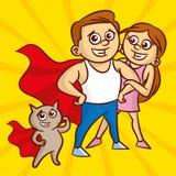 Портрет красивых атлетических пар Человек и кот в плаще супергероя иллюстрация вектора