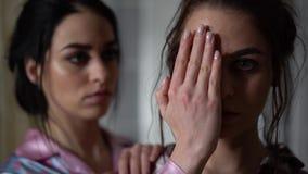 Портрет красивых молодых взрослых близнецов сестер Стороны красивых девушек близко вверх Сестры отношения сток-видео