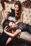 Портрет красивых молодых женщин близнецов в шикарных платьях вечера Стоковые Изображения