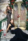 Портрет красивых молодых женщин близнецов в шикарных платьях вечера над предпосылкой рождества Стоковые Фотографии RF