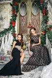 Портрет красивых молодых женщин близнецов в шикарных платьях вечера над предпосылкой рождества Стоковое Изображение RF