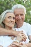 Портрет красивых старших пар представляя в парке стоковая фотография