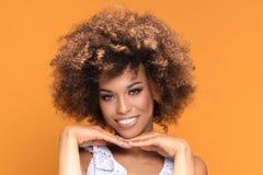 Портрет красоты афро молодой усмехаясь дамы Стоковые Фото