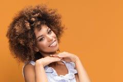 Портрет красоты афро молодой усмехаясь дамы Стоковые Фотографии RF