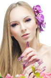 Портрет красоты девушки изолированный на белизне Стоковые Фото