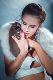 Портрет красоты женщины брюнет Стоковые Фотографии RF