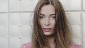 Портрет красоты модели с естественным составом акции видеоматериалы