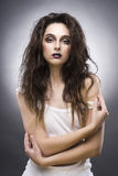 Портрет красоты молодой женщины с составом авангарда Стоковое Изображение RF