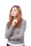 Портрет крупного плана молодой женщины при ручка изолированная на белизне Стоковое Изображение RF