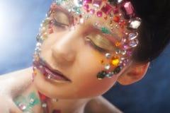 Портрет крупного плана женщины с художническим составом Стоковая Фотография
