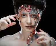 Портрет крупного плана женщины с художническим составом Стоковое Фото