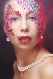 Портрет крупного плана женщины с художническим составом Стоковые Изображения