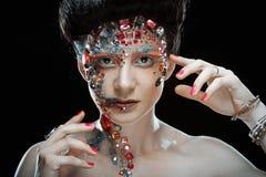Портрет крупного плана женщины с художническим составом Стоковые Фото