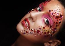 Портрет крупного плана женщины с художническим составом Стоковая Фотография RF