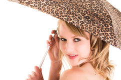 Портрет крупного плана красивого белокурого удерживания девушки Стоковое Фото