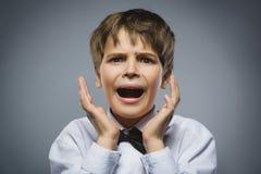 Портрет крупного плана красивого мальчика с удивленным выражением пока стоящ против серой предпосылки стоковая фотография