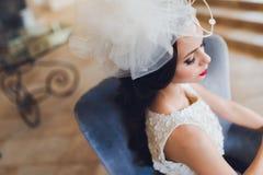 Портрет крупного плана молодой шикарной невесты Стоковые Фотографии RF