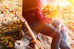 Портрет крупного плана пары сидя с гитарой около костра в лесе Стоковое Фото