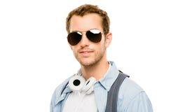 Портрет крупного плана привлекательных стекел молодого человека нося на whit Стоковое Фото