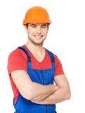 Портрет счастливого работника в форме Стоковая Фотография RF