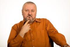 Портрет крупного плана удовлетворенного зрелого бизнесмена Стоковое фото RF