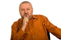 Портрет крупного плана удовлетворенного зрелого бизнесмена Стоковые Фото