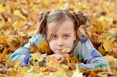 Портрет маленькой девочки в сезоне осени стоковая фотография