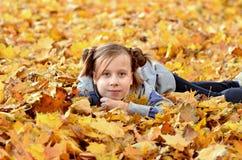 Портрет маленькой девочки в сезоне осени стоковые фото