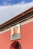 Портрет Мао Дзе Дун na górze строба к запретному городу, Пекину, Китаю Стоковая Фотография