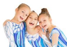 Портрет маленьких счастливых красивых гимнастов Стоковые Изображения