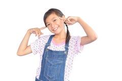 Портрет маленькой азиатской девушки на белизне Стоковые Изображения
