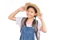 Портрет маленькой азиатской девушки на белизне Стоковая Фотография