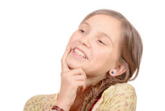 Портрет маленькой девочки изолированный на белизне Стоковое Изображение RF