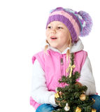 Портрет маленькой девочки одел в одеждах зимы Стоковые Изображения RF