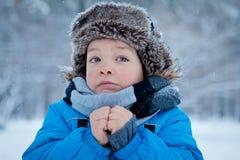 Портрет мальчика в времени зимы Стоковая Фотография