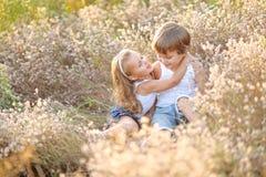 Портрет мальчика и девушки на поле Стоковое Изображение