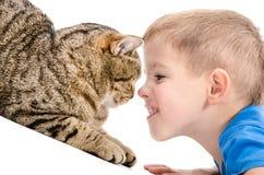 Портрет мальчика и крупного плана кота Стоковые Фото