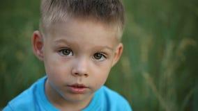 Портрет мальчика на природе сток-видео