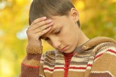 портрет мальчика унылый Стоковая Фотография RF
