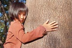 Портрет милой азиатской маленькой девочки обнимая большое дерево стоковые изображения rf