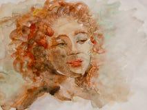 Портрет милой девушки которая смотрит к стороне через ее открытые глаза иллюстрация штока